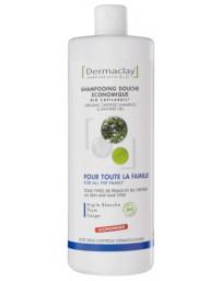 Dermaclay Shampooing Douche économique Argile blanche Thym Sauge 1L familial Pharma5avenue
