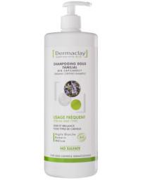 Dermaclay Shampoing doux familial usage fréquent Argile blanche 1 litre tous les types de cheveux Pharma5avenue
