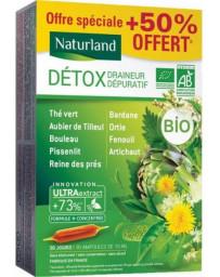 Naturland Détox Draineur Dépuratif Bio 9 plantes 20 ampoules de 10ml + 50 % offert