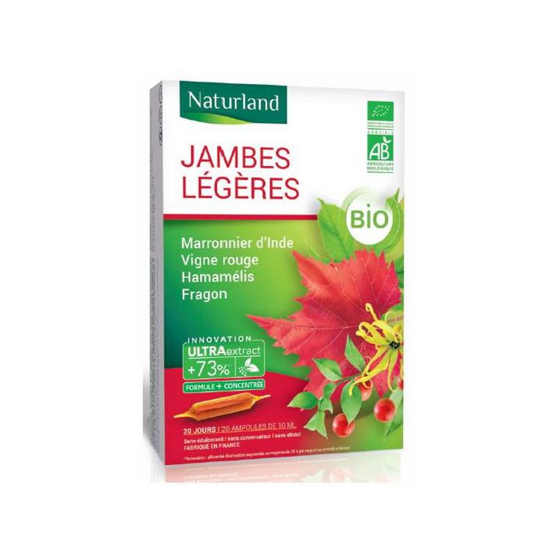 Naturland - Jambes légères Bio (marronnier d'inde-hamamélis-vigne rouge-fragon) - 20 ampoules Pharma5avenue