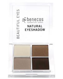 Benecos Fard à paupières 4 couleurs Coffee et Cream, 4 teintes marron maquillage bio Pharma5avenue