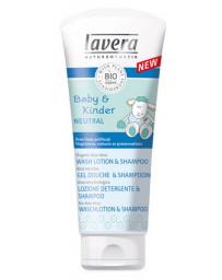 Gel douche Shampooing cheveux et corps Bébés et Enfants NEUTRAL 200ml Lavera - produit d'hygiène pour les cheveux de bébé