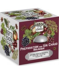 Provence d'Antan Préparation pour vin chaud bio cube 24 sachets Boite métal