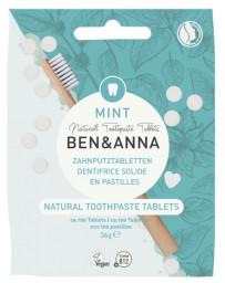 Ben et Anna Dentifrice solide goût menthe 100 pastilles sans fluor 36 gr écologique sans lastique Pharma5avenue