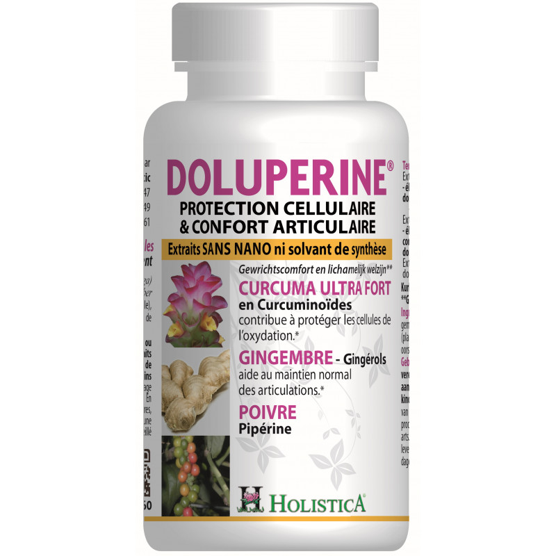Doluperine 60 gelules - Curcumine - Holistica confort articulaire Pharma5avenue
