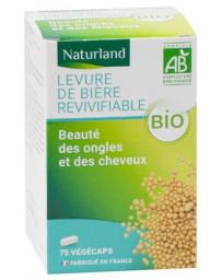 Naturland - Levure de Bière bio revivifiable - 75 Gélules Végécaps flore cheveux ongles Pharma5avenue