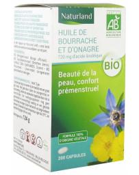 Naturland - Huiles de bourrache - onagre - 200 capsules beauté et période prémenstruelle Pharma5avenue