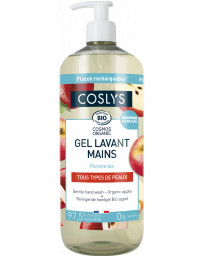 Coslys Gel lavant mains à la pomme bio 1L, savon liquide mains bio