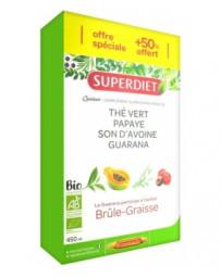 Super Diet Quatuor thé vert papaye guarana avoine ampoules de 15ml 3 semaines 1 offerte