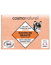 Cosmo Naturel Savon au lait d'ânesse aux huiles essentielles d'Agrumes 100 gr, savon bio