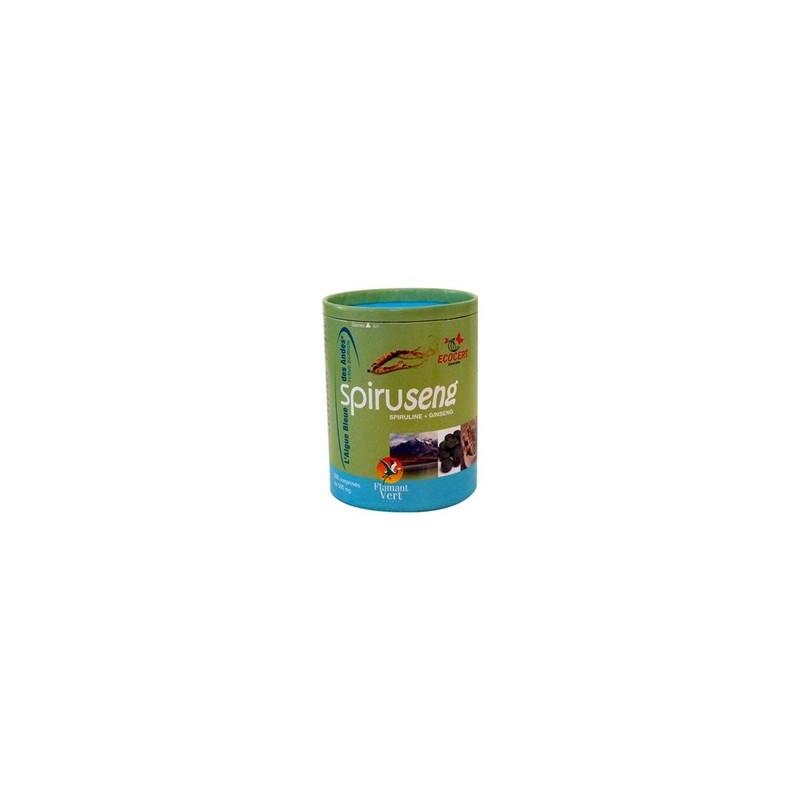 SpiruSeng Bio , Spiruline Ginseng, Flamant vert, 300 cp de 500 mg