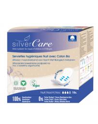Silvercare Serviettes nuit 100% coton bio Ultra minces avec ailettes 10 unités pharma5avenue