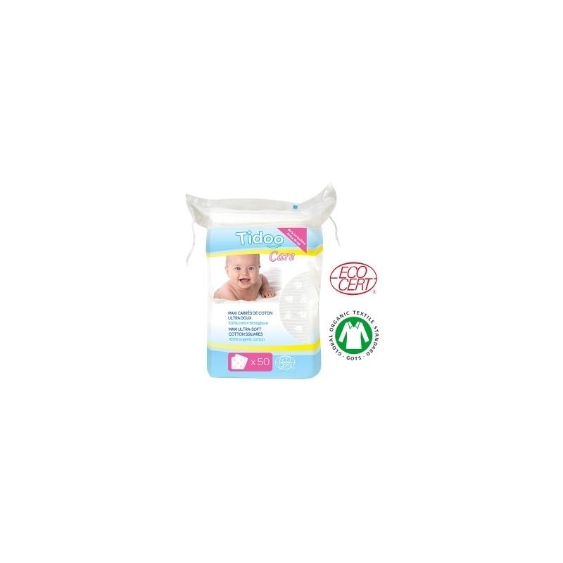 50 Maxi Carrés de Coton Bio Ultra doux 100% biologique TidooCare - produit d'hygiène pour bébé