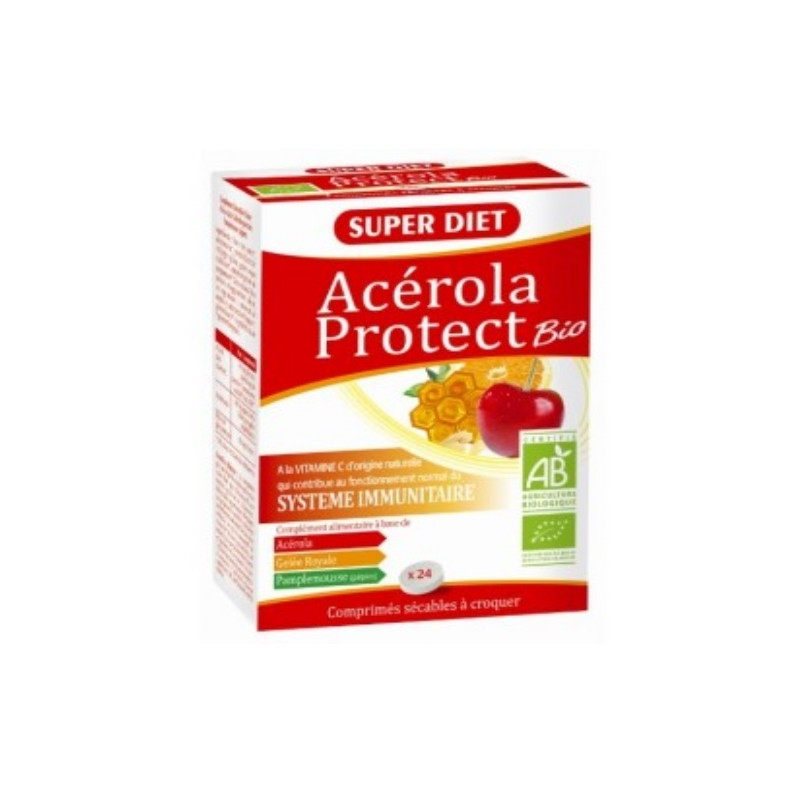 Super Diet Acérola Protect Bio Gelée royale Pépins de pamplemousse 24 comprimes