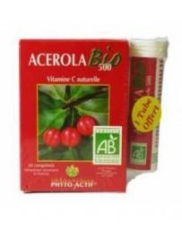 Phyto-actif Acérola Bio 500 24 comprimés 500mg Lot de 2 Tubes + 1 Offert