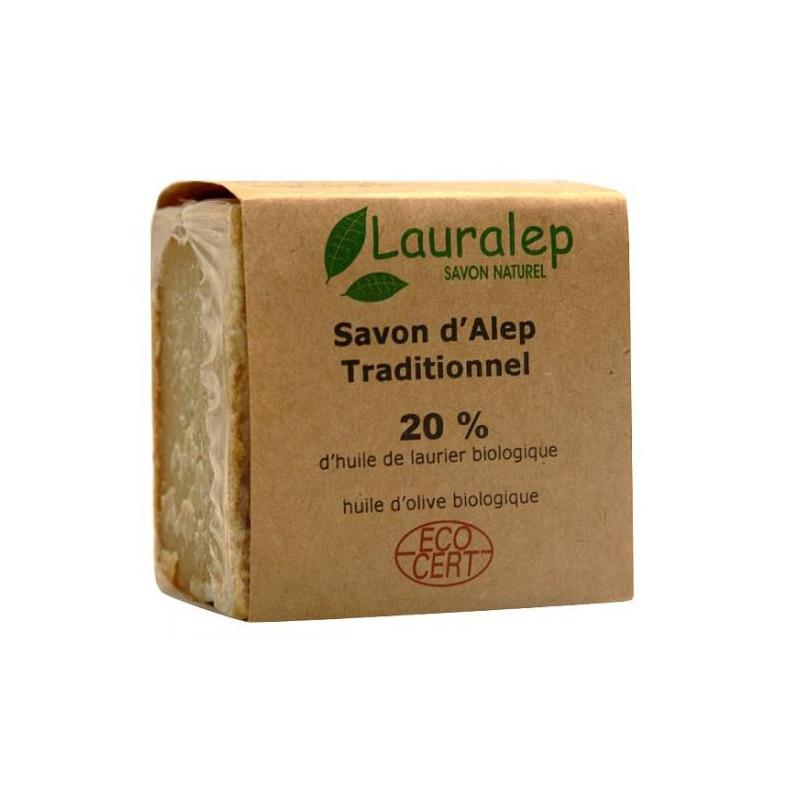 Savon d'Alep Bio à 20% huile de laurier 200g Lauralep