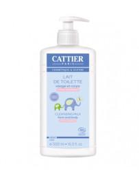 Lait de Toilette bébé Visage et Corps à l'Amande Douce 500ml Cattier - cosmétique d'origine biologique