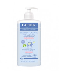 Eau nettoyante micellaire bébé Amande douce et Calendula 500ml Cattier - cosmétique bio