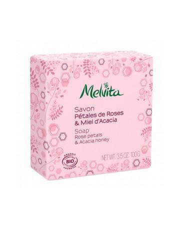 Savon Pétales de rose et miel d'acacia 100g Melvita - cosmétique biologique
