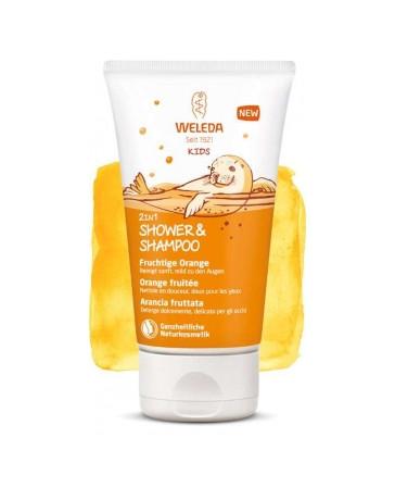 Crème de douche 2 en 1 corps et cheveux Enfants orange fruité 150ml Weleda - cosmétique biologique