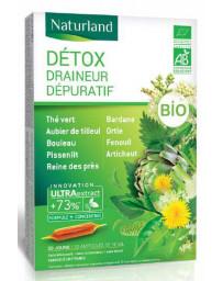 Naturland - extrait fluide Detox Bio aux 9 plantes - 20 ampoules