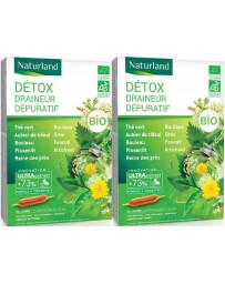 Naturland - Lot de 2 boîtes Detox Bio (association de 11 plantes*) - 2 X 20 ampoules