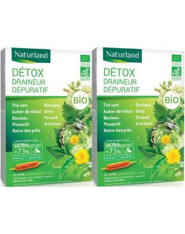 Naturland - extrait fluide Detox Bio aux 11 plantes - PROMO de 2 boîtes de 20 ampoules