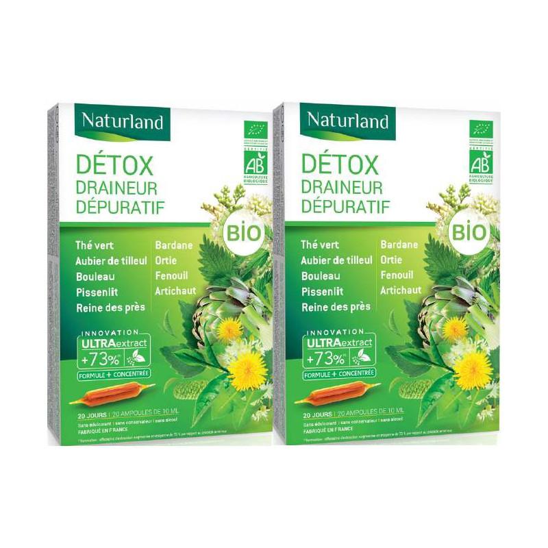 Naturland - extrait fluide Detox Bio aux 11 plantes - PROMO de 2 boîtes de 20 ampoules Pharma5avenue