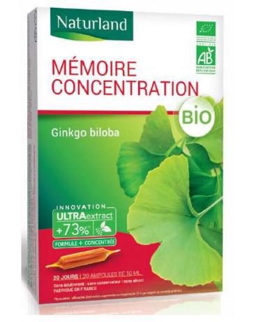 Mémoire Concentration Ginkgo biloba BIO 20 ampoules de Naturland
