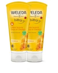 Welelda lot de 2 crème lavante corps cheveux Calendula bébé 2x200ml, bébé bio