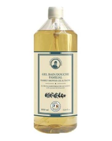 L'Artisan Savonnier Gel bain douche familial huile essentielle de Lavandin 1 L, bain douche bio
