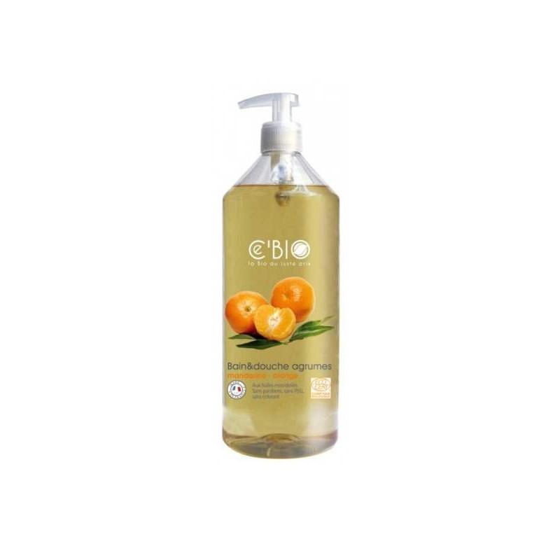 C'BIO Bain et douche Agrumes Mandarine Orange 1 L, bain douche bio, pharma5avenue