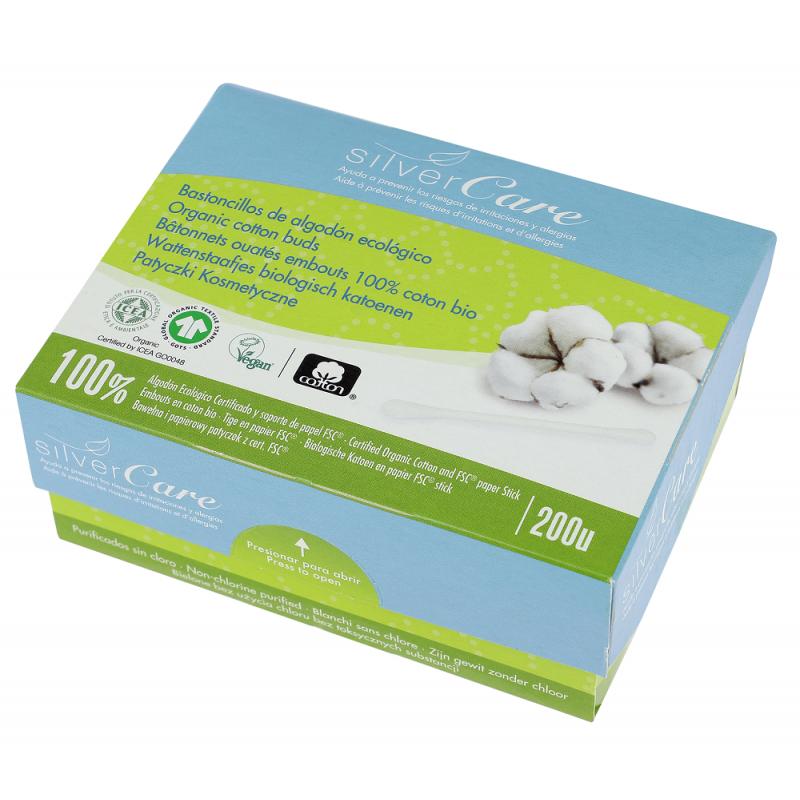 bâtonnets ouatés embouts 100% coton bio 200 unités Silvercare - produit de nettoyage pour les oreilles
