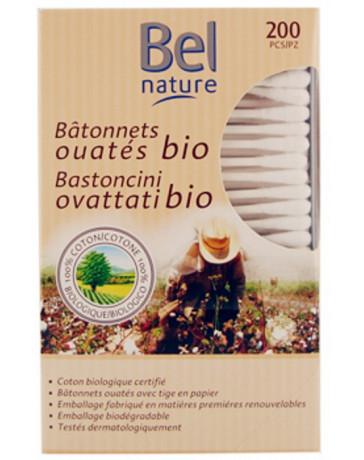200 Bâtonnets d'oreille boîte distributrice coton bio  Bel Nature -coton tige pour les oreilles