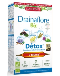 Super Diet Drainaflore bio 20 ampoules de 15 ml, draineur detox bio Pharma5avenue