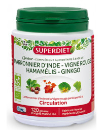 Quatuor Circulation Marronnier Vigne Rouge Hamamelis Ginkgo biloba 120 gélules SuperDiet Pharma5avenue