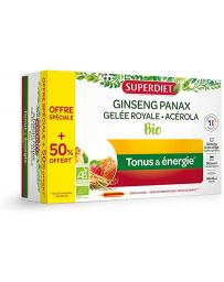 Super Diet Ginseng Acérola Gelée Royale Bio 20 ampoules +50% gratuit
