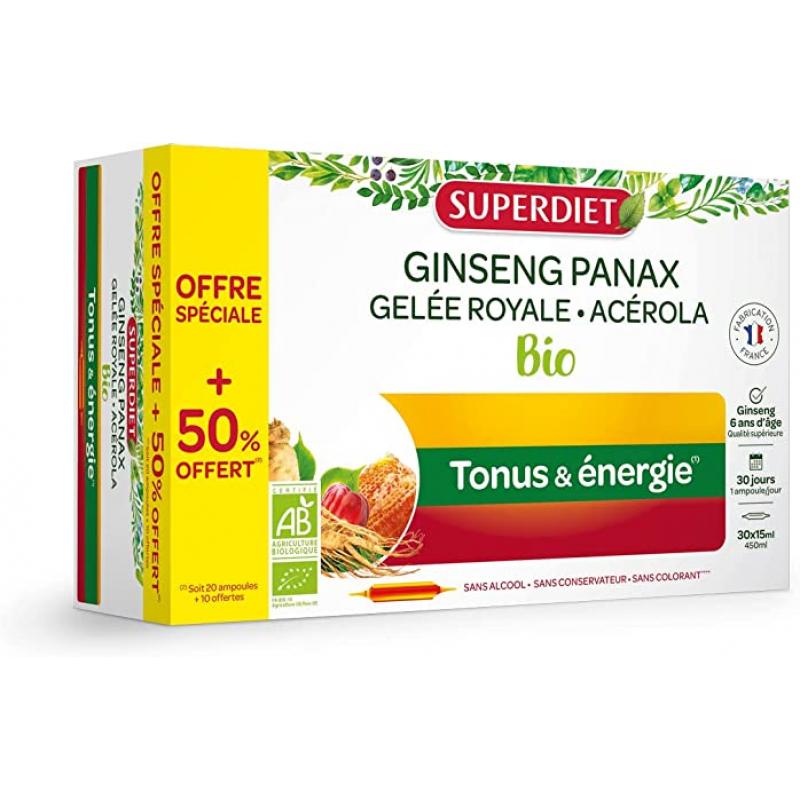 Super Diet Ginseng Acérola Gelée Royale Bio 20 ampoules +50% gratuit Pharma5avenue