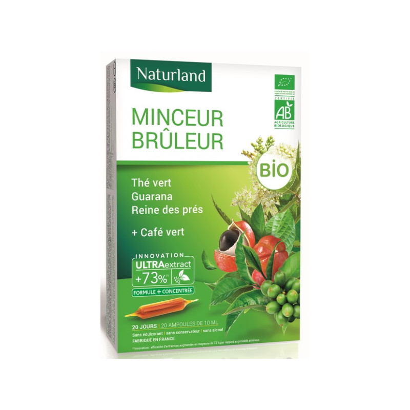 Naturland Minceur et vitalité Bio (thé vert, Café vert, Guarana, Reine des prés) 20 ampoules Pharma5avenue