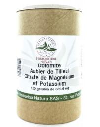 Herboristerie de paris Dolomite Aubier de tilleul Citrates de magnésium et de potassium 120 Gélules