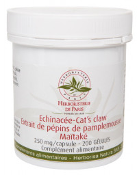Herboristerie de Paris Echinacée Cat's claw pépins de pamplemousse Maïtaké 200 Gélules défenses immunité Pharma5avenue