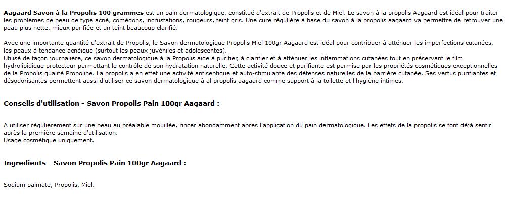 savon à la propolis 100 grammes aagaard - propolis miel