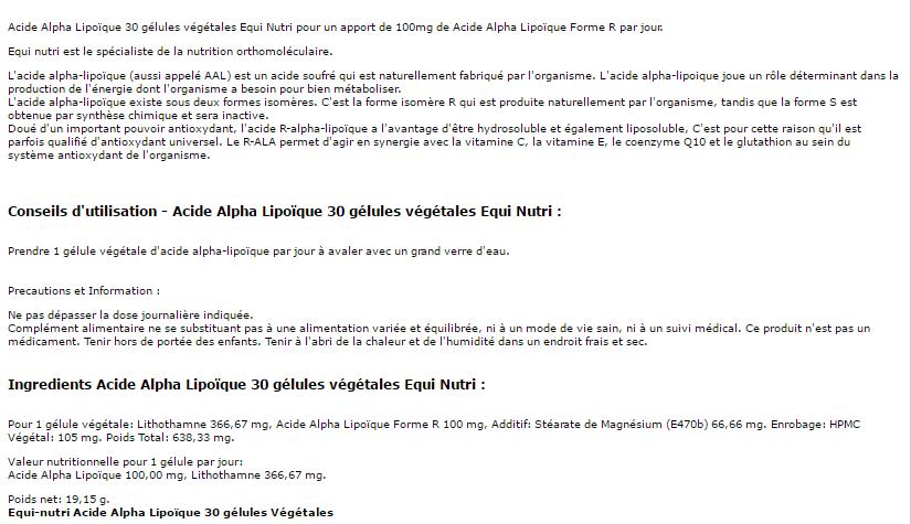 acide alapha lipoique 30 gélules equi nutri pour protéger l'organisme