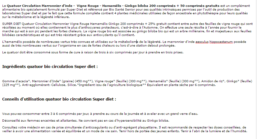 texte quatuor circulation bio 200 comprimes super diet